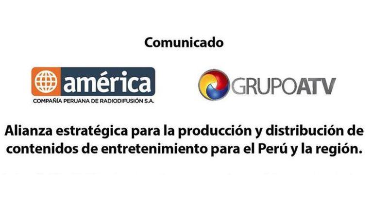 c22dcbfb07 No señores, esto no es ninguna alianza estratégica, esto se llama  concentración de medios. América Televisión (Grupo El Comercio) y el Grupo  ATV (que ...